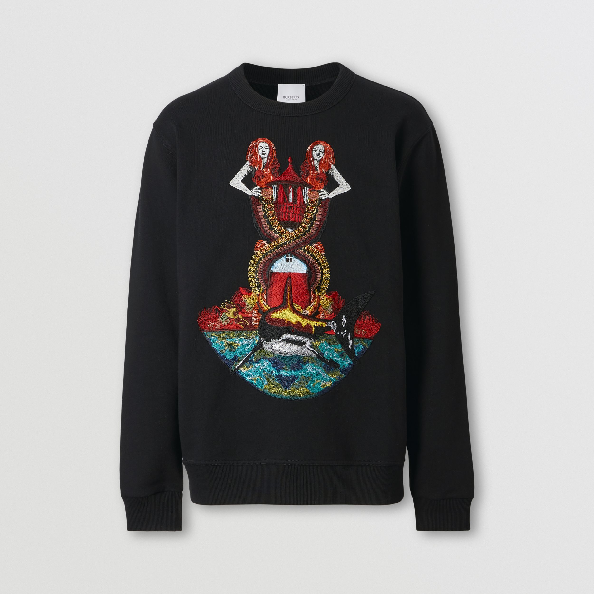 Mermaid Print Cotton Sweatshirt in Black - Men | Burberry - 4