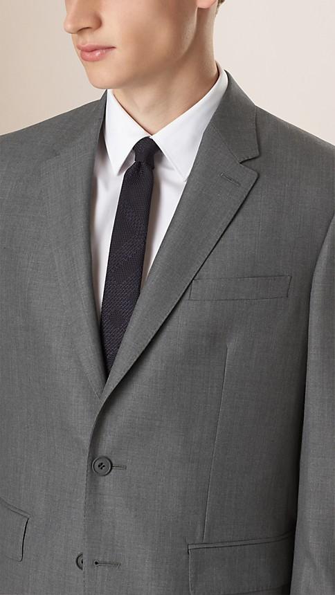 Mid grey melange Classic Fit Wool Part-canvas Suit - Image 3