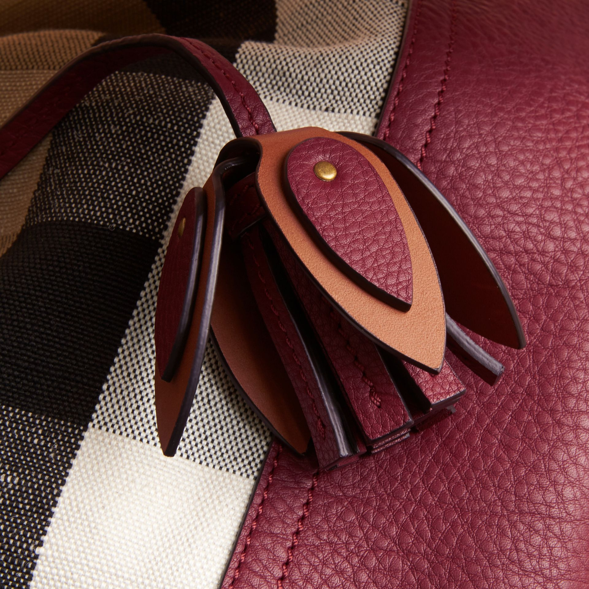 Medium Canvas Check and Leather Bucket Bag in Burgundy Red - Women | Burberry - gallery image 7
