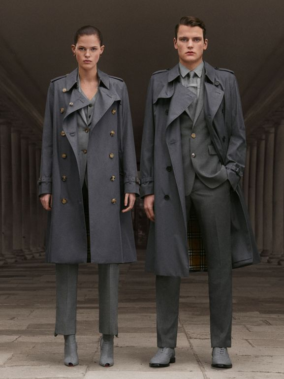 The Kensington Heritage Trench Coat in Mid Grey - Women | Burberry - cell image 1