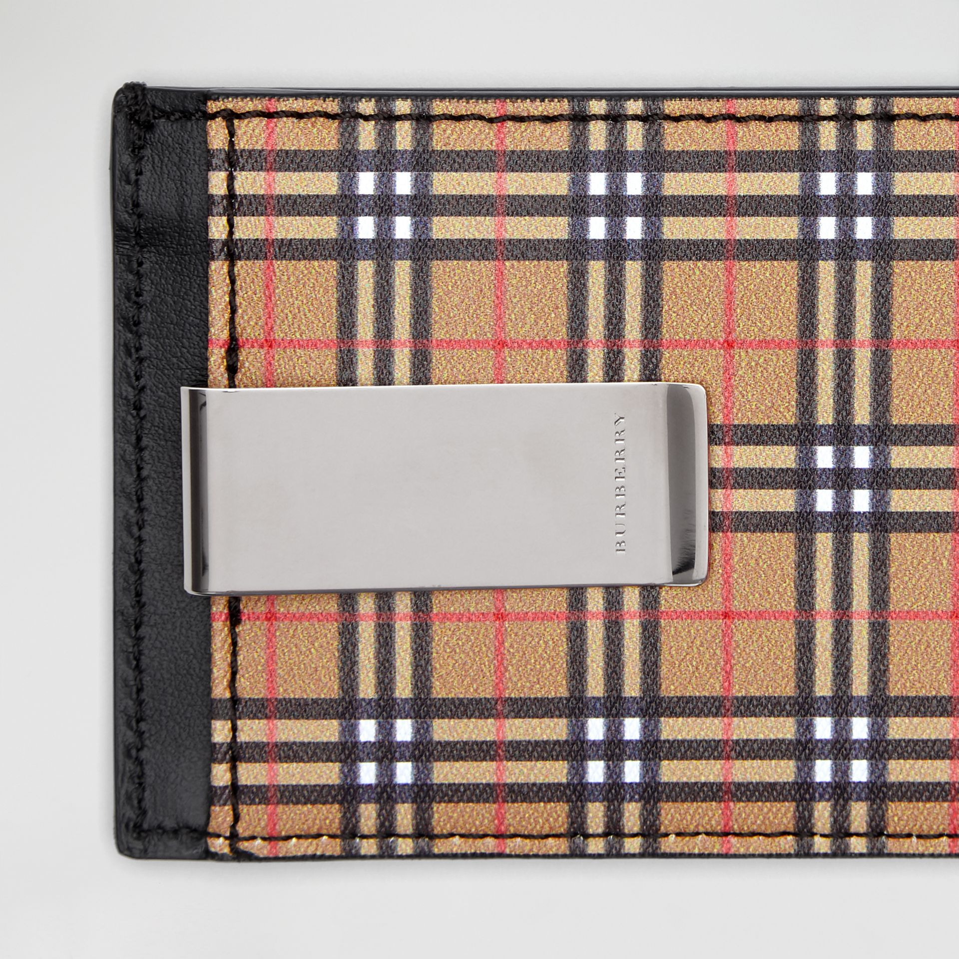 Small Scale Check and Leather Money Clip Card Case in Antique Yellow/black - Men | Burberry Singapore - gallery image 1