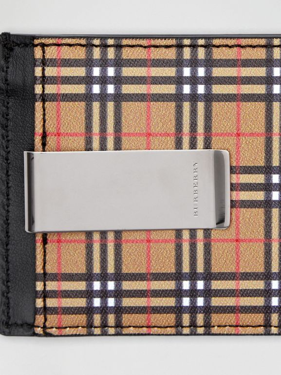 Small Scale Check and Leather Money Clip Card Case in Antique Yellow/black - Men | Burberry - cell image 1