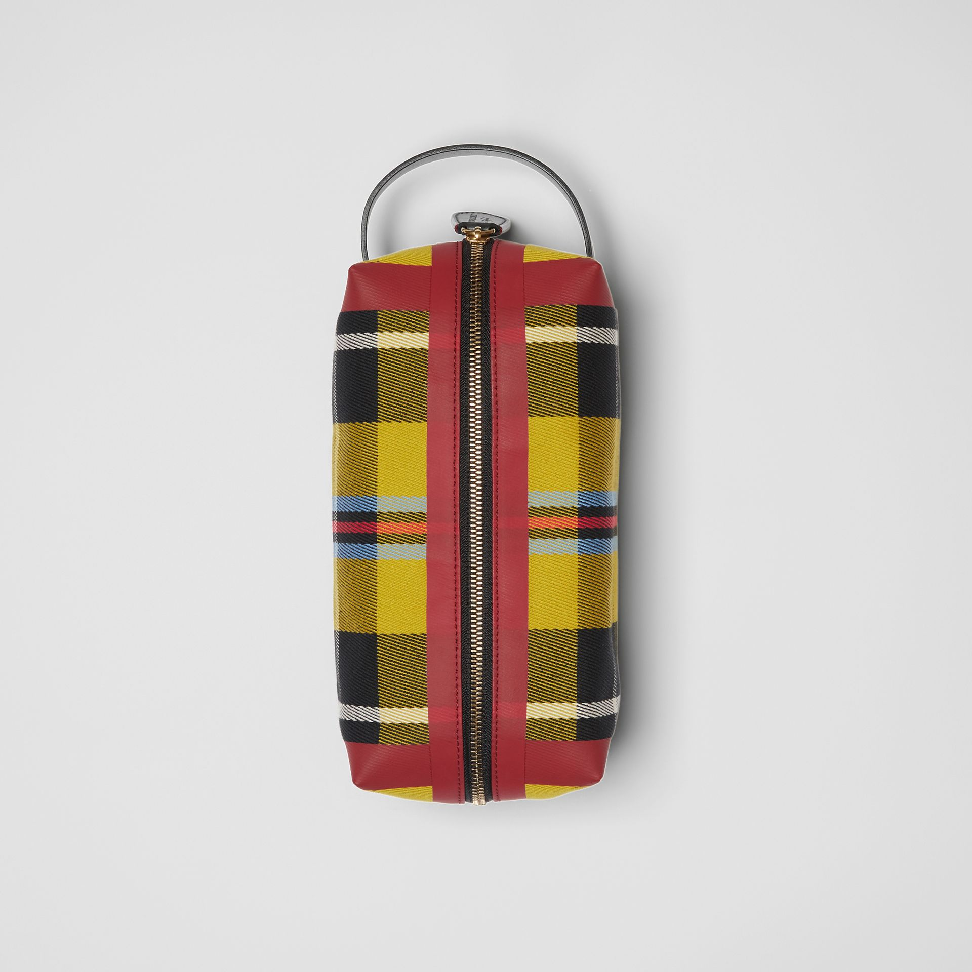 Tartan Cotton Pouch in Ochre Yellow | Burberry - gallery image 0