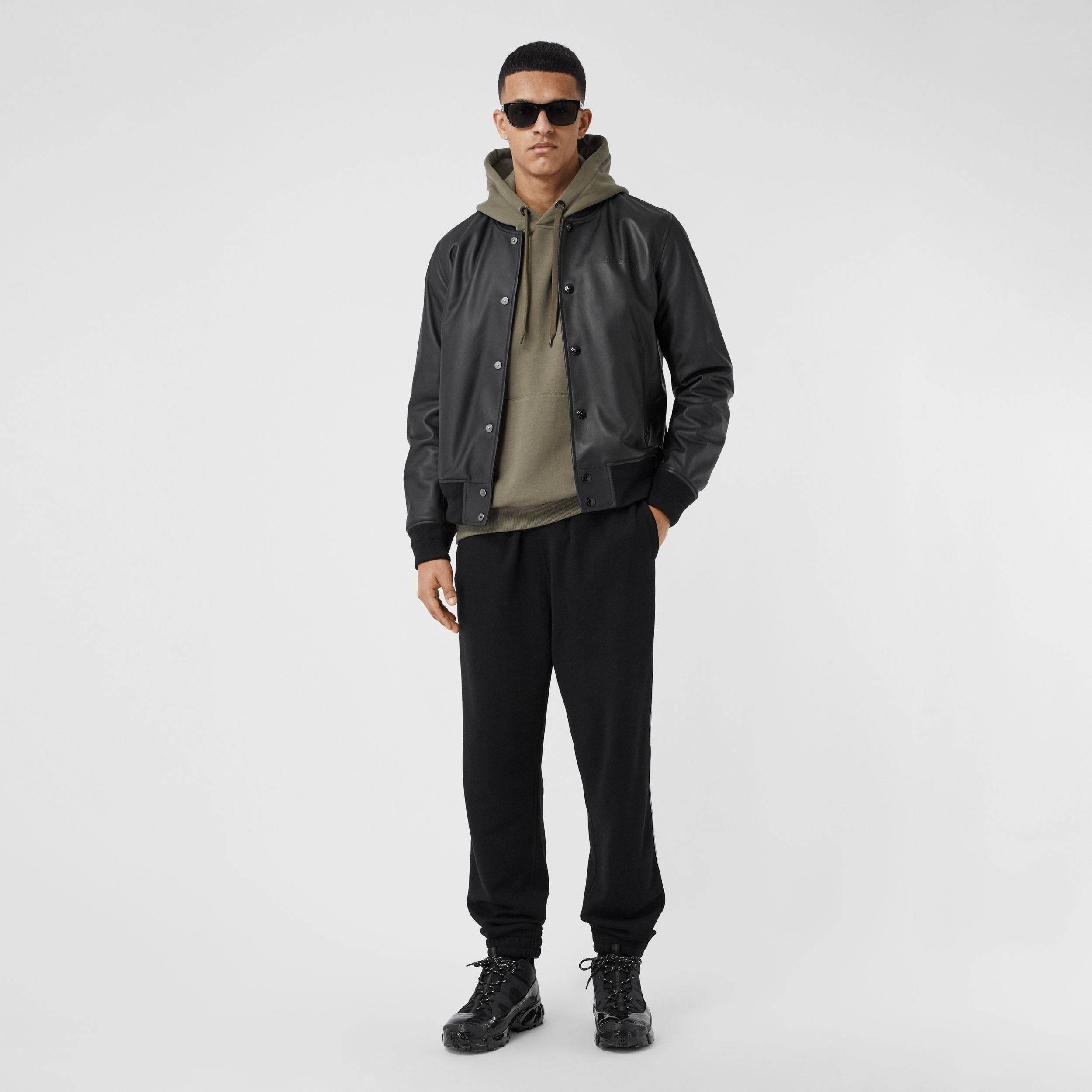 Logo Embossed Lambskin Bomber Jacket in Black - Men | Burberry - 1