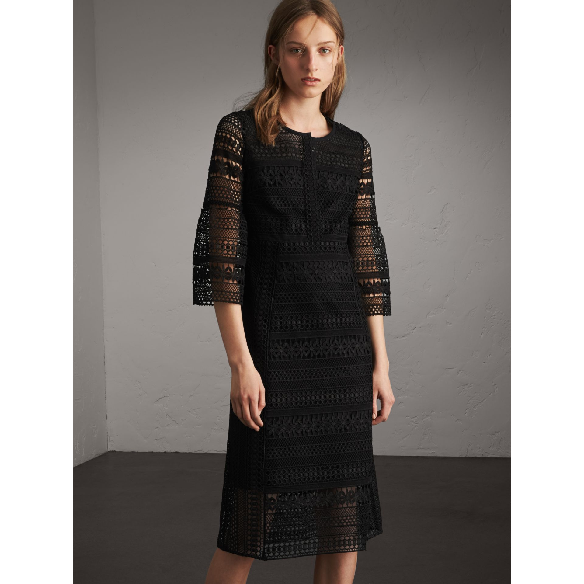 Puff-sleeve Macramé Lace Dress in Black - Women | Burberry - gallery image 7