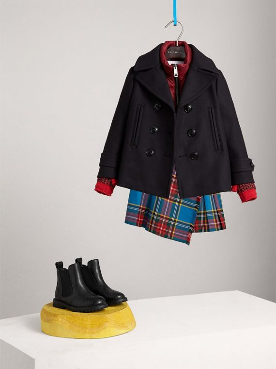Wool Cashmere Blend Pea Coat with Down-filled Gilet in Navy | Burberry United Kingdom - cell image 2