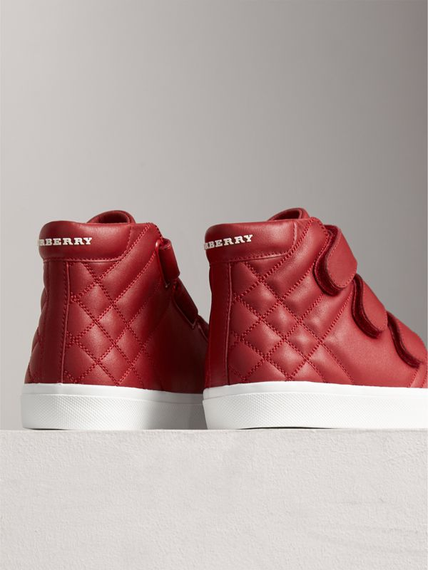 Check-quilted Leather High-top Sneakers in Parade Red | Burberry - cell image 2