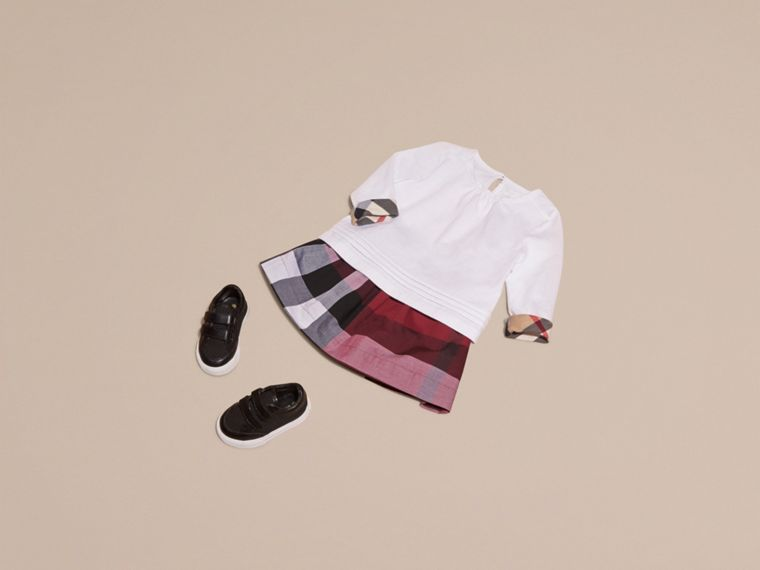 White Long-sleeved Check Trim Cotton T-shirt - cell image 4