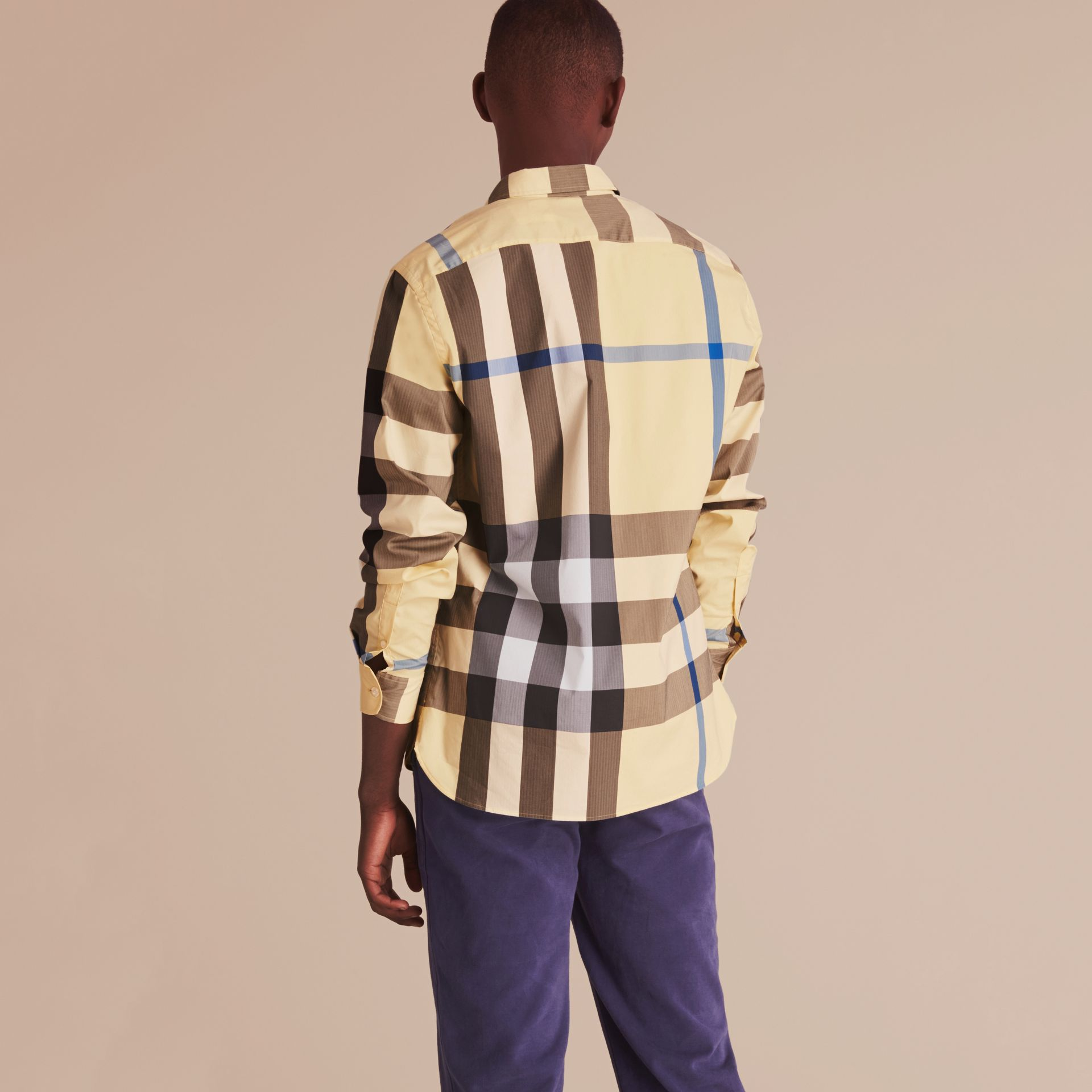 Button-down Collar Check Stretch Cotton Blend Shirt in Pale Yellow - Men | Burberry - gallery image 3