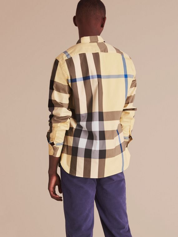 Button-down Collar Check Stretch Cotton Blend Shirt in Pale Yellow - Men | Burberry - cell image 2