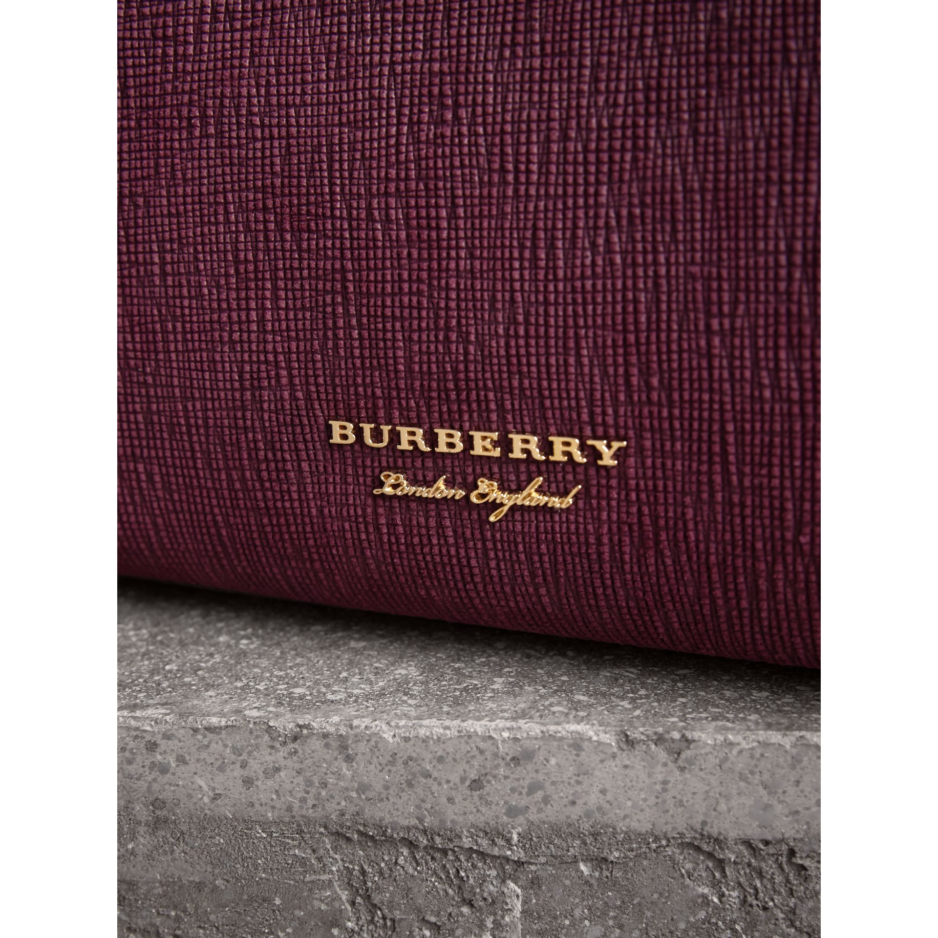 The Medium Banner in Leather, Python and House Check in Elderberry - Women | Burberry - gallery image 2