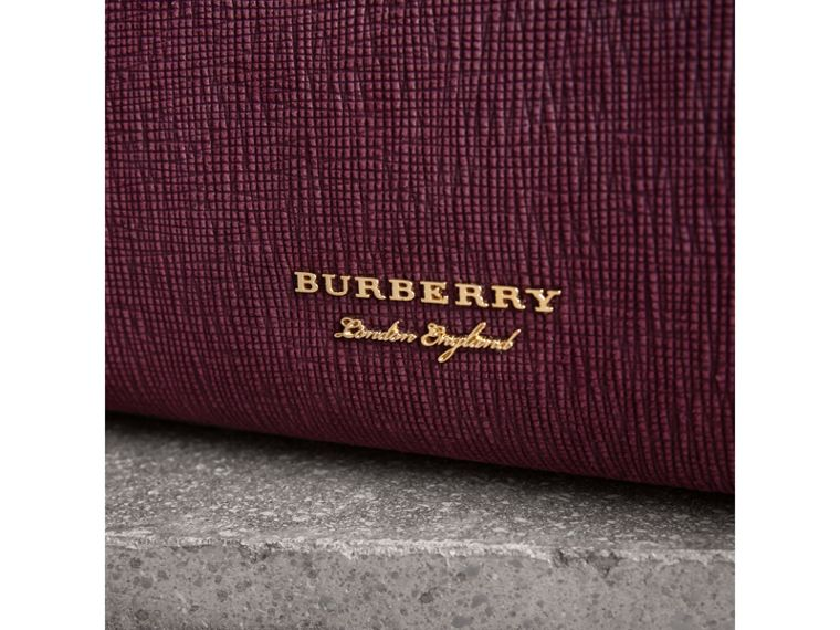 The Medium Banner in Leather, Python and House Check in Elderberry - Women | Burberry - cell image 1