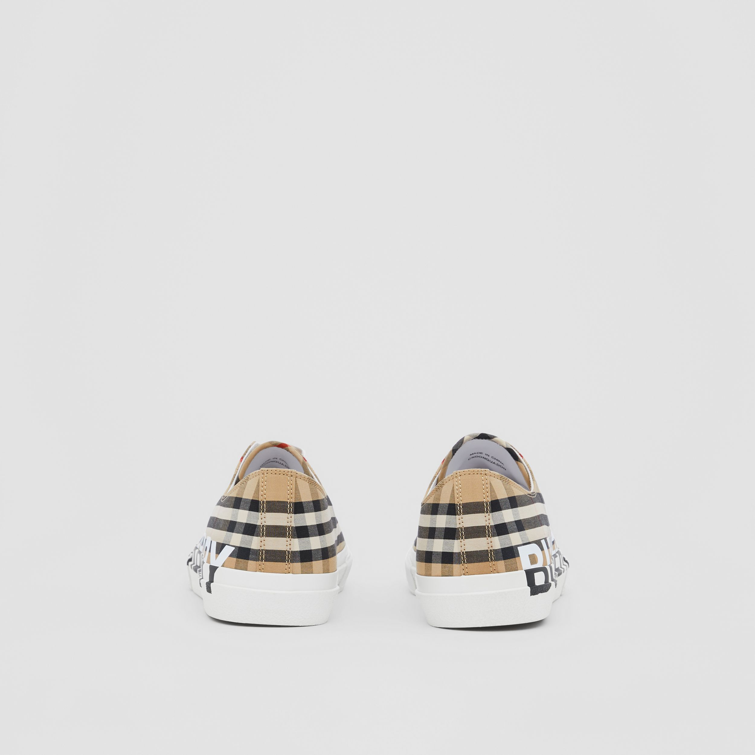 Logo Print Vintage Check Cotton Sneakers in Archive Beige - Men | Burberry United States - 4
