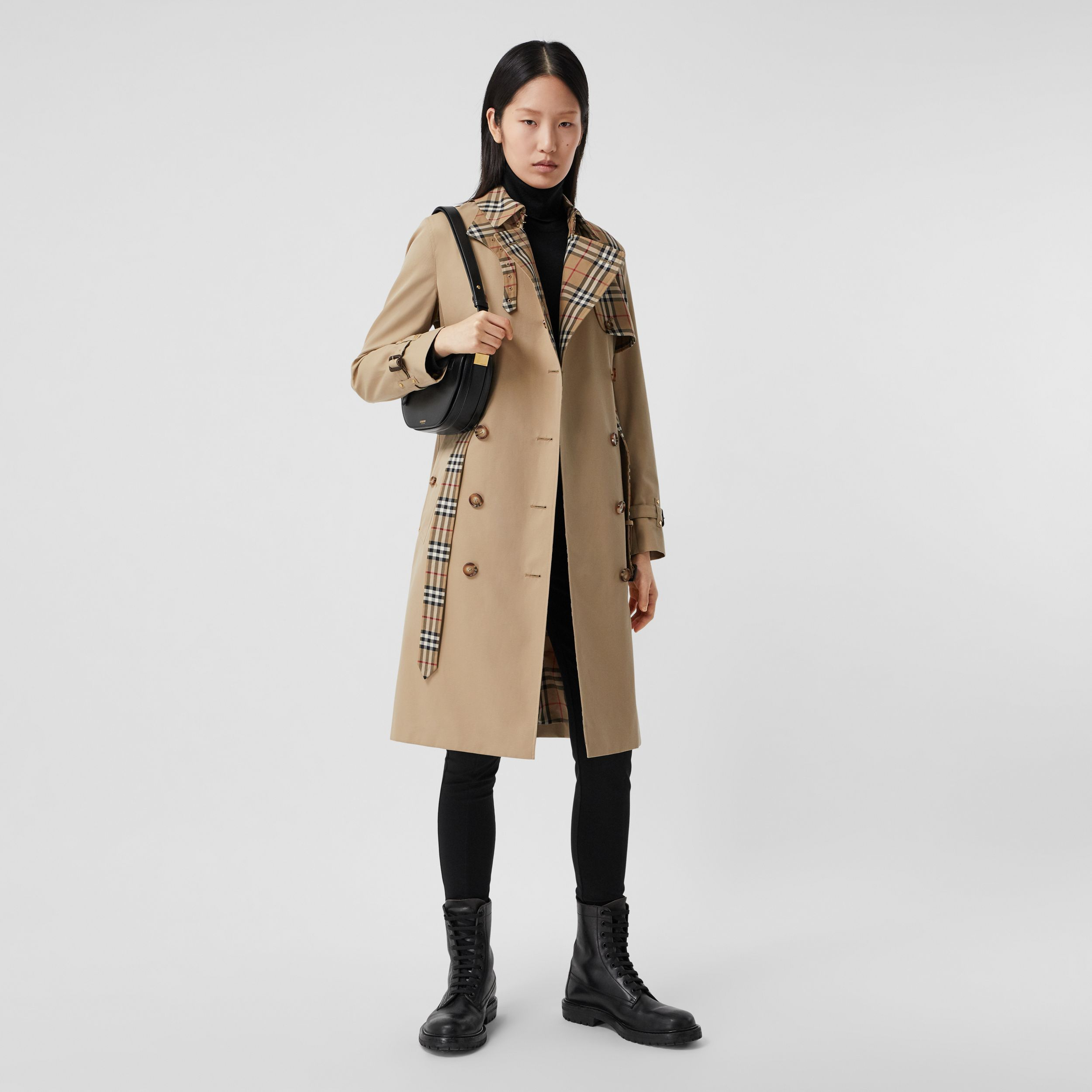 Vintage Check Panel Cotton Gabardine Trench Coat in Honey - Women | Burberry Australia - 1