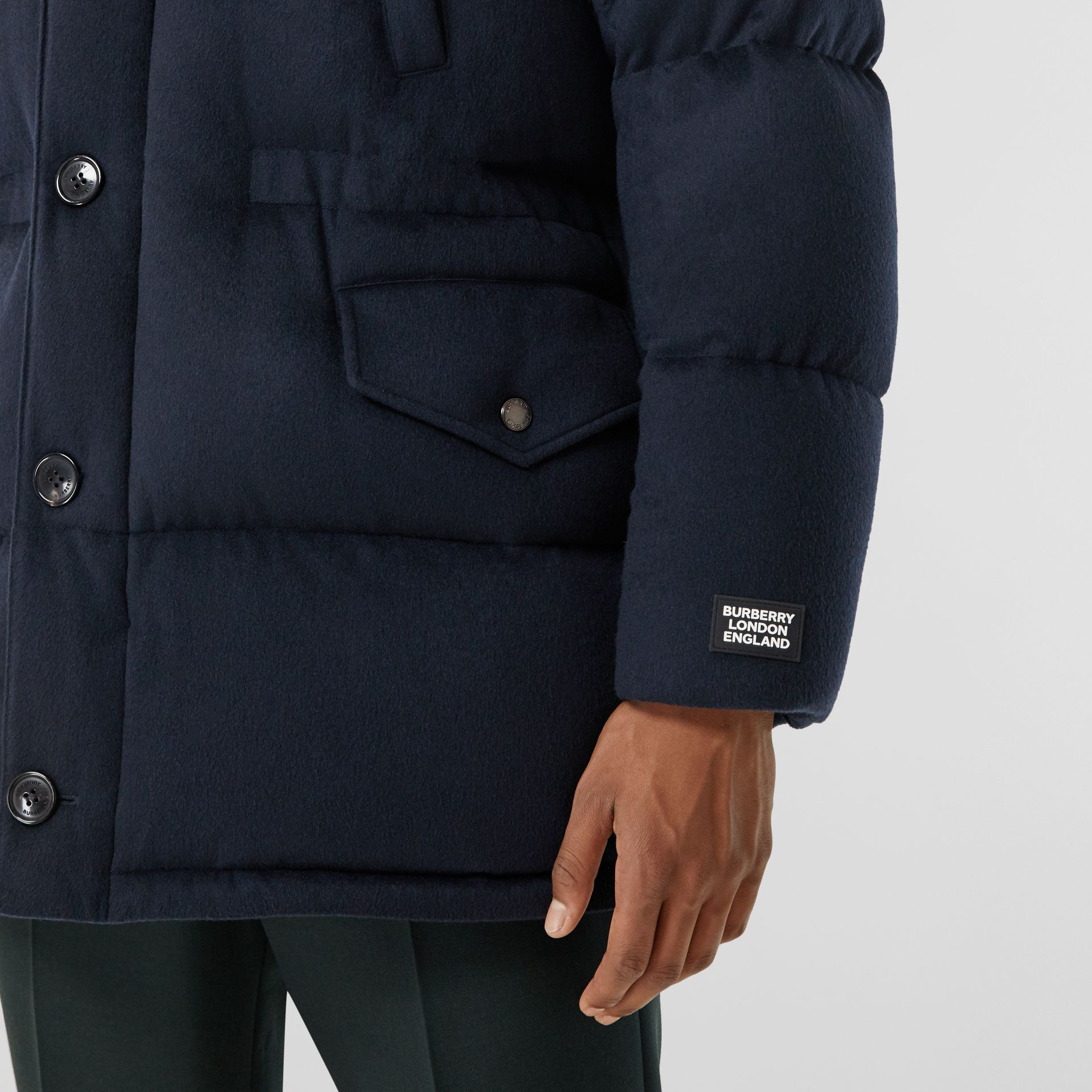Cashmere Hooded Puffer Coat in Navy - Men | Burberry United States - gallery image 4