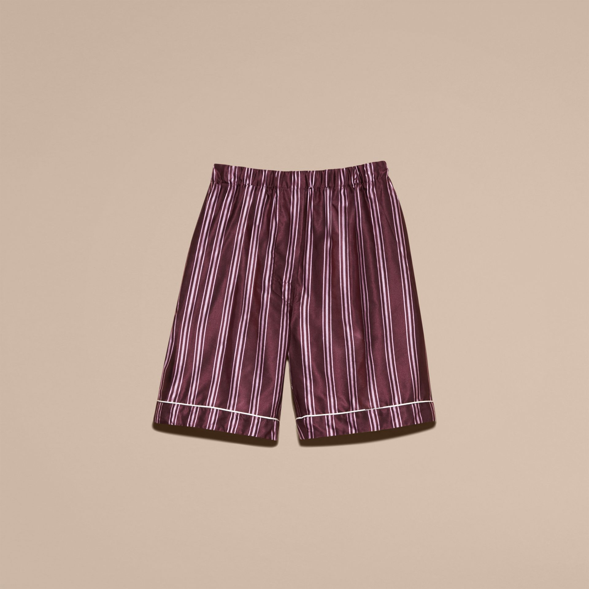 Crimson Panama Stripe Cotton Silk Pyjama-style Shorts - gallery image 4