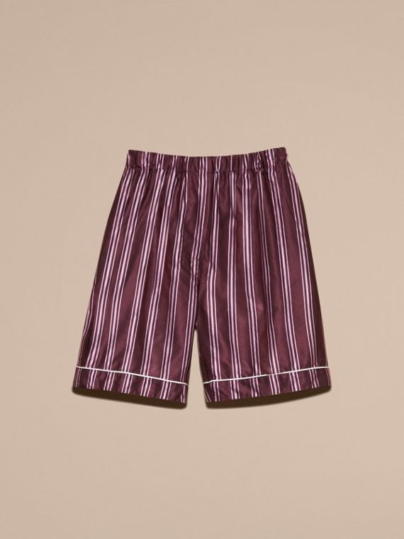 Crimson Panama Stripe Cotton Silk Pyjama-style Shorts - cell image 3