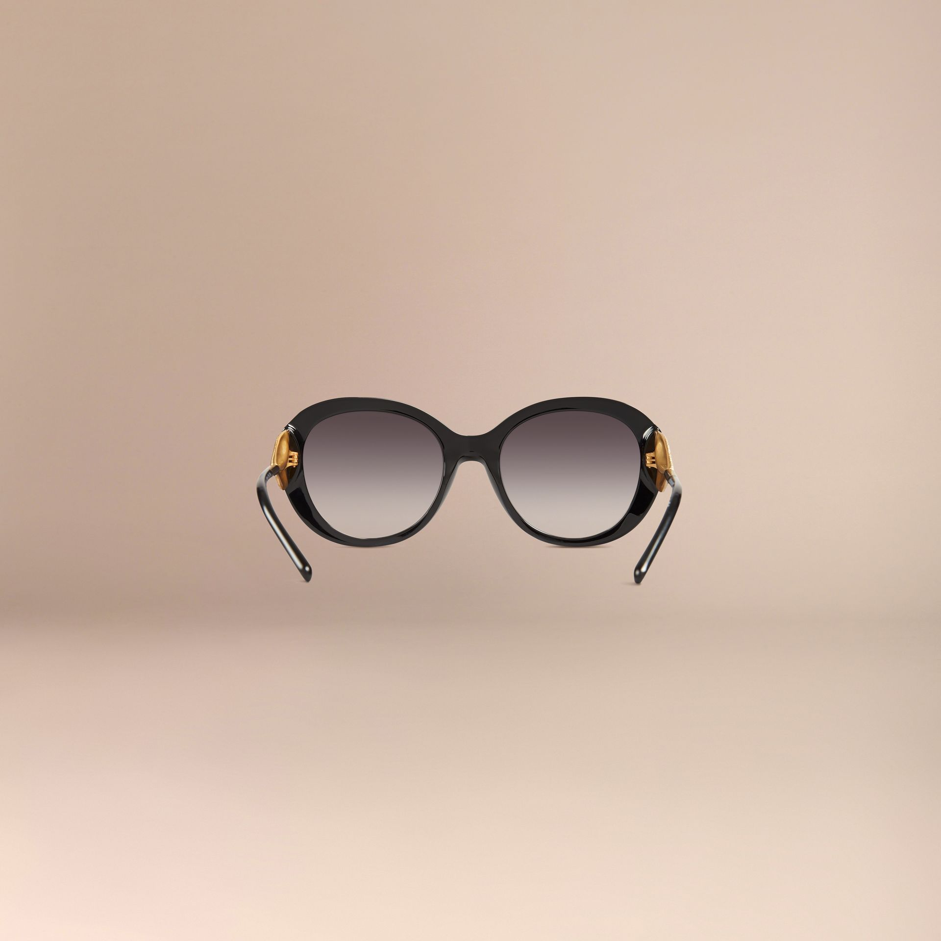Oversize Round Frame Sunglasses in Black - Women | Burberry - gallery image 4