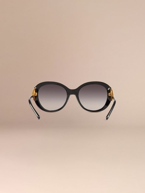 Oversize Round Frame Sunglasses in Black - Women | Burberry - cell image 3