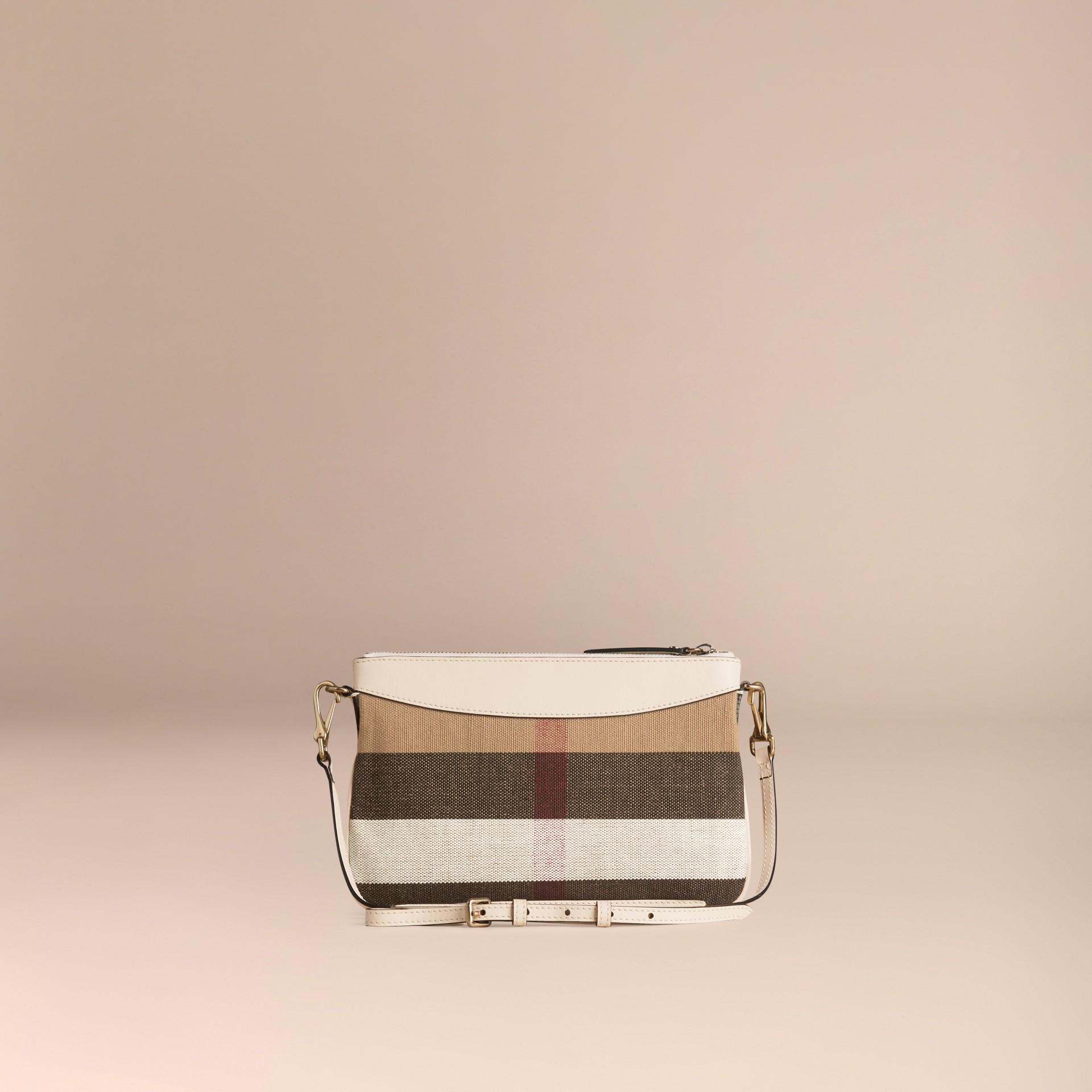 Branco Bolsa clutch de couro com padrão Canvas check - galeria de imagens 4