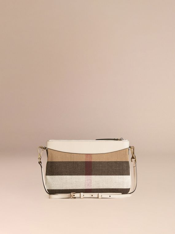 White Canvas Check and Leather Clutch Bag White - cell image 3