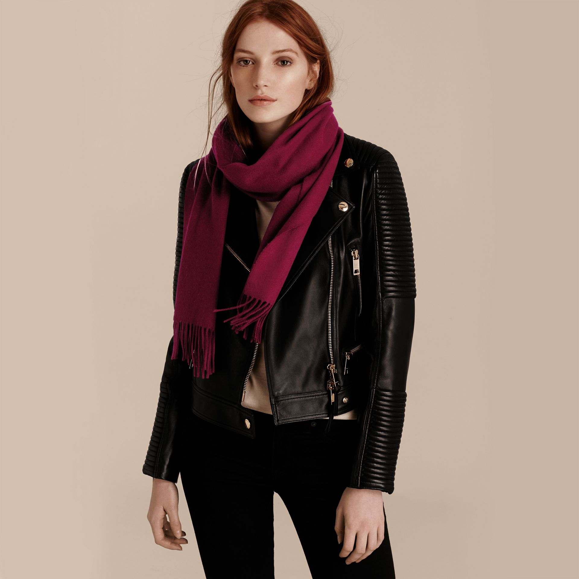 The Classic Cashmere Scarf in Plum | Burberry - gallery image 3