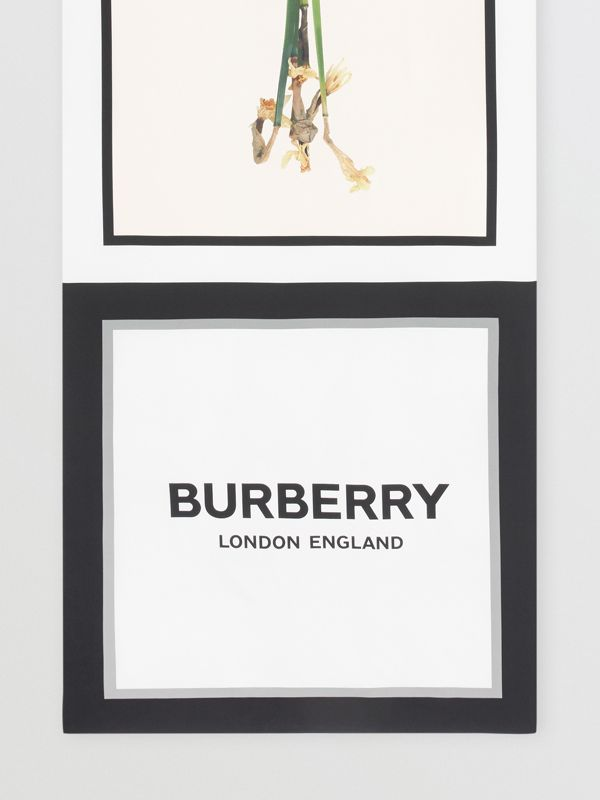 Montage and Logo Print Silk Scarf in Monochrome | Burberry - cell image 2