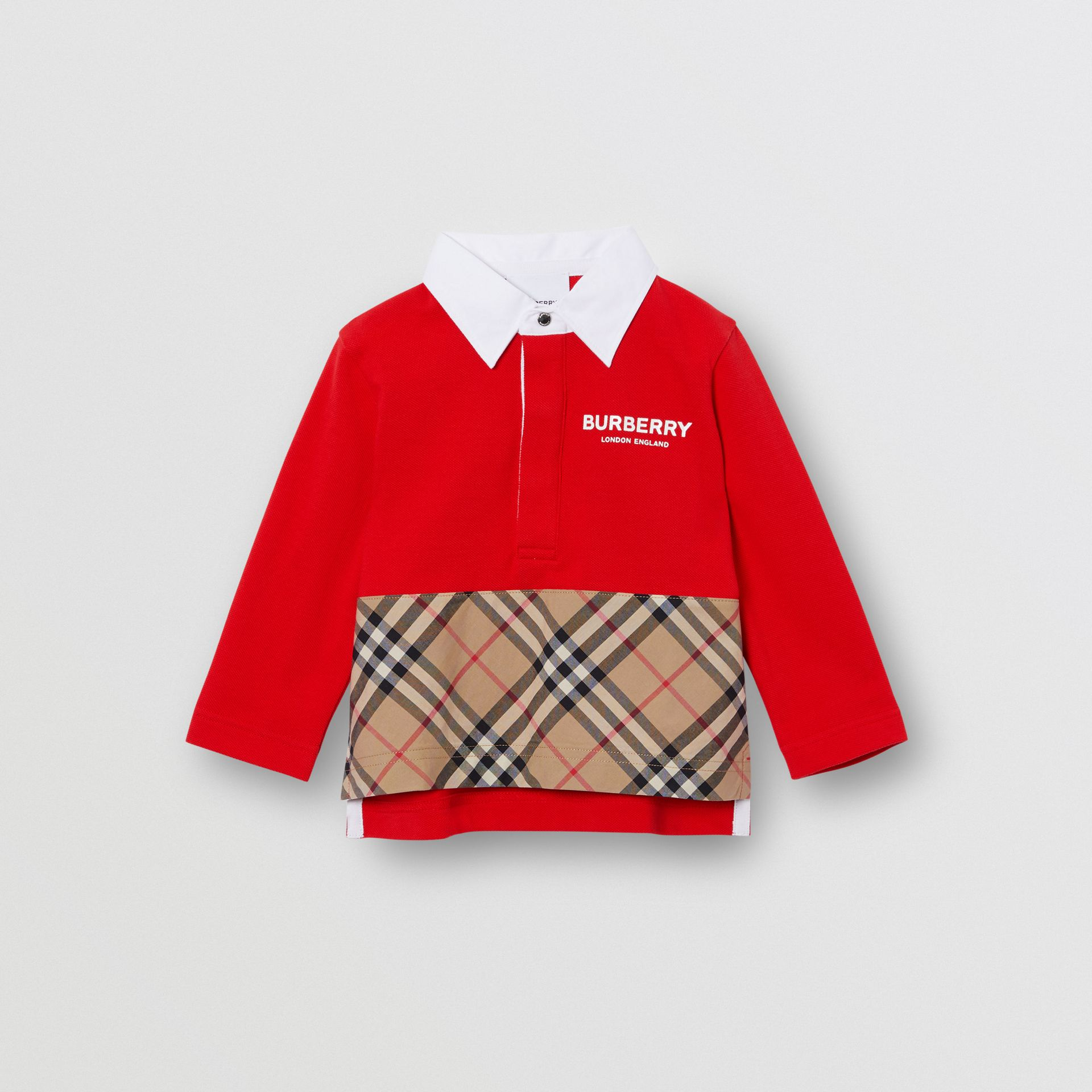 Long-sleeve Vintage Check Panel Cotton Polo Shirt in Bright Red - Children | Burberry - gallery image 0