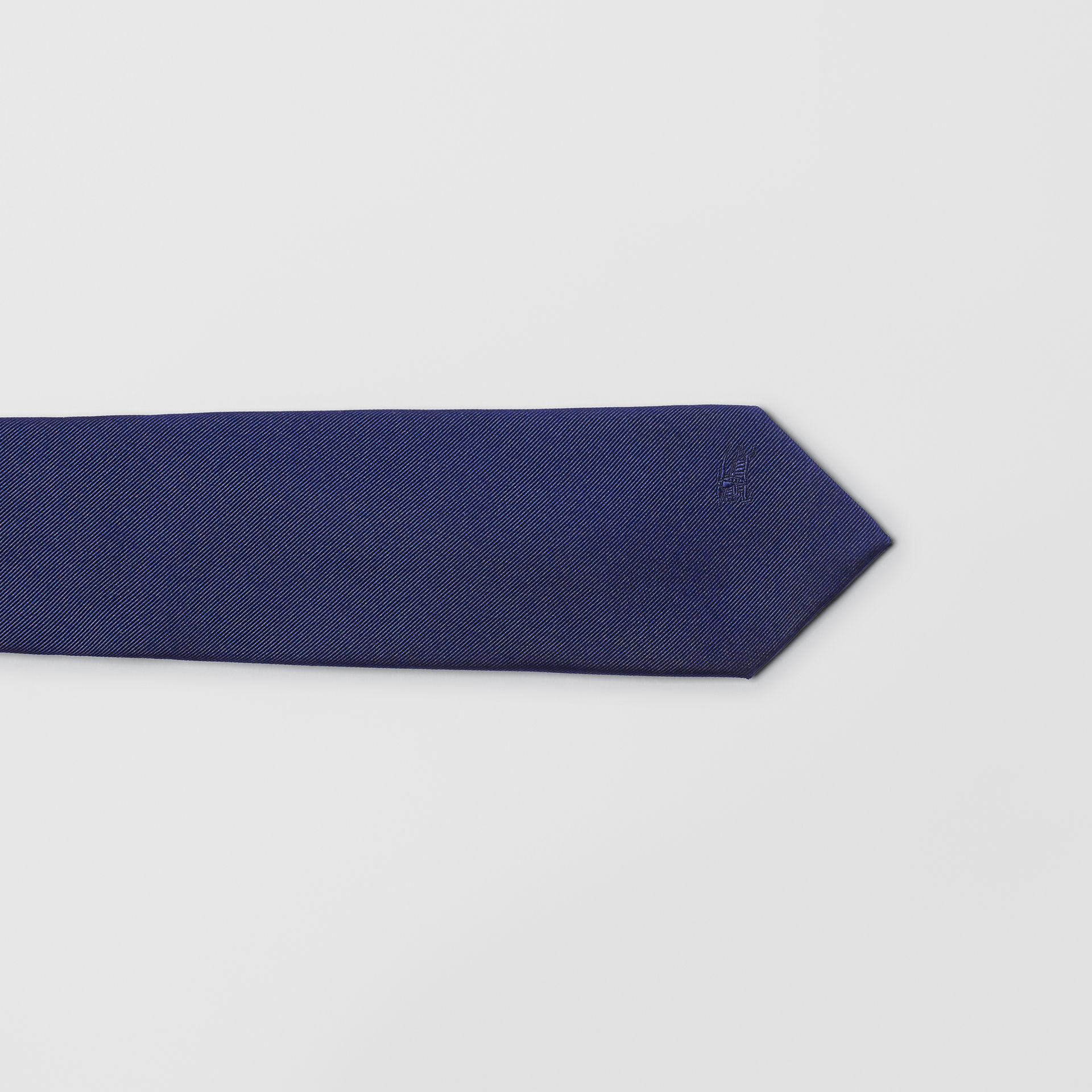 Slim Cut Check Silk Twill Tie in Navy - Men | Burberry - gallery image 1