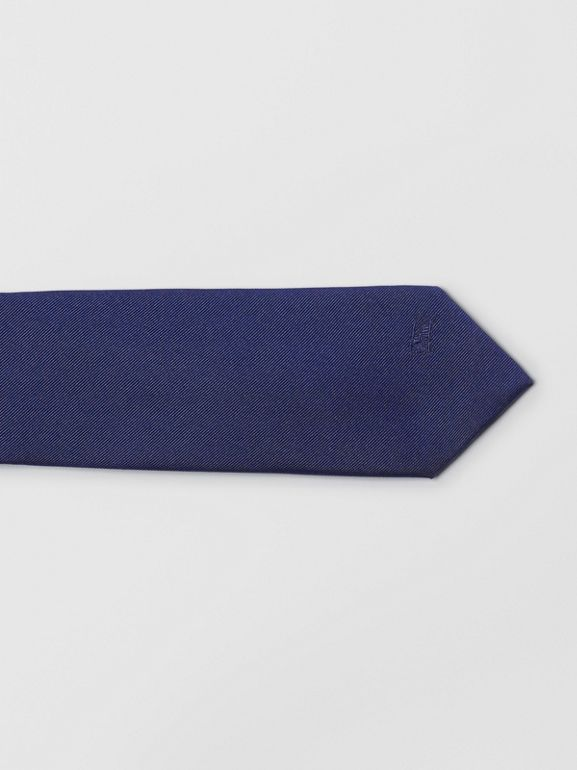 Slim Cut Check Silk Twill Tie in Navy - Men | Burberry - cell image 1