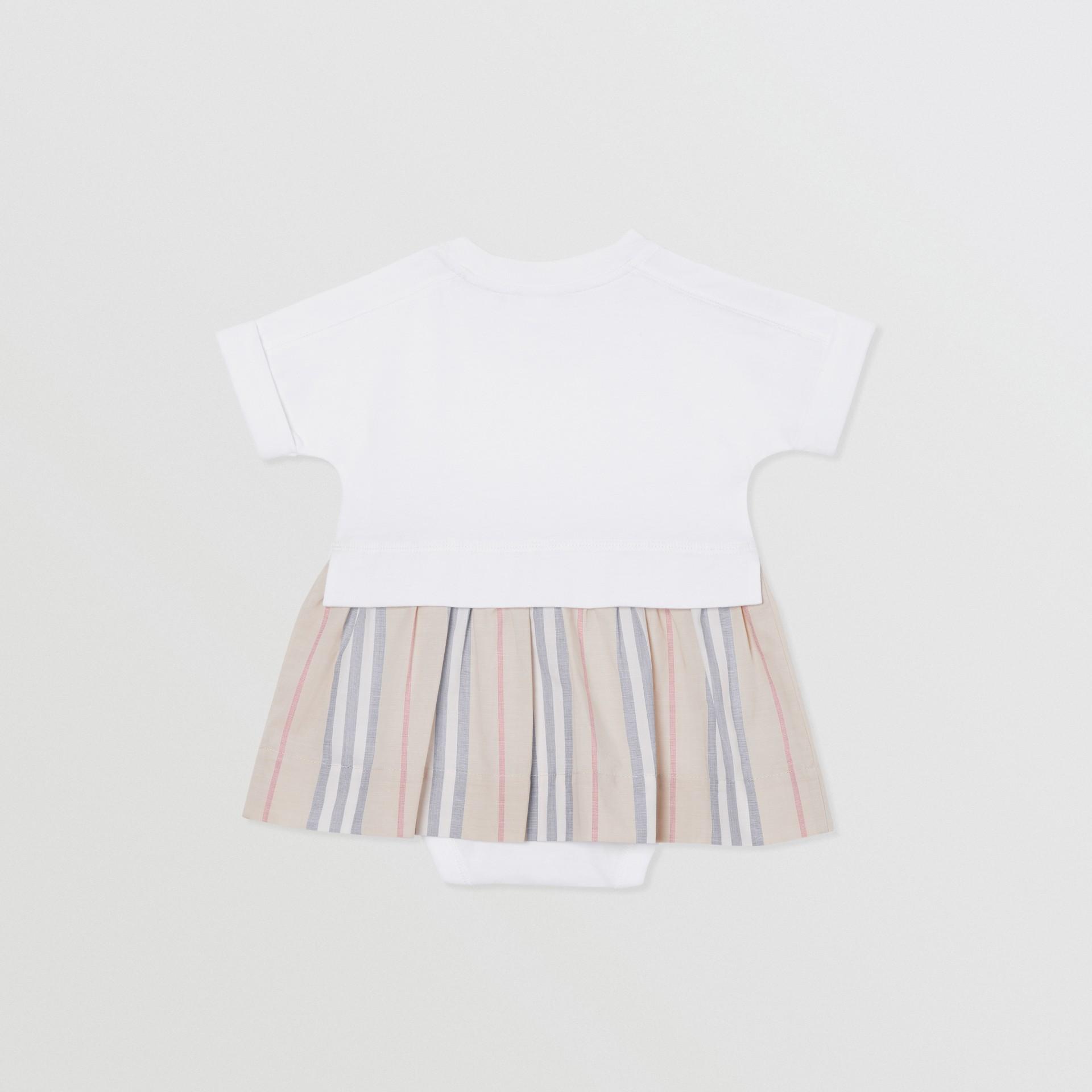 Icon Stripe Skirt Cotton Bodysuit in White - Children | Burberry Singapore - gallery image 3