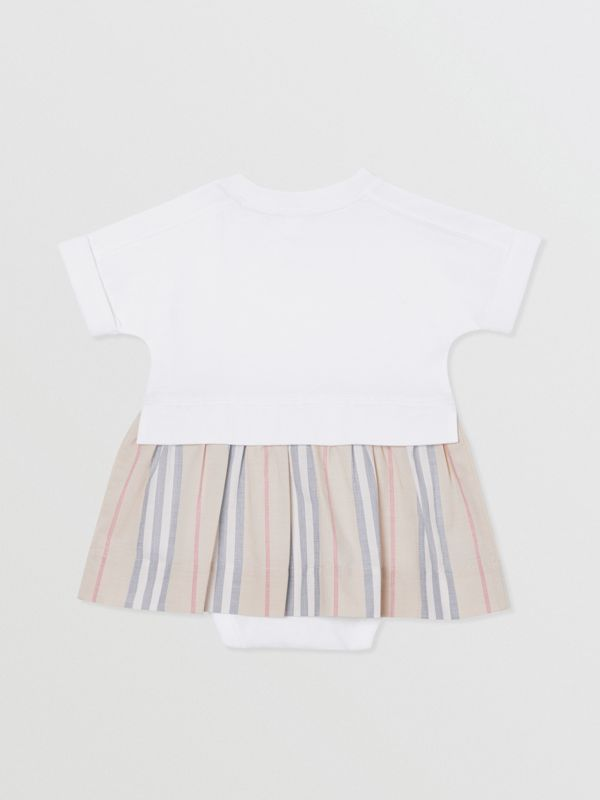 Icon Stripe Skirt Cotton Bodysuit in White - Children | Burberry United Kingdom - cell image 3