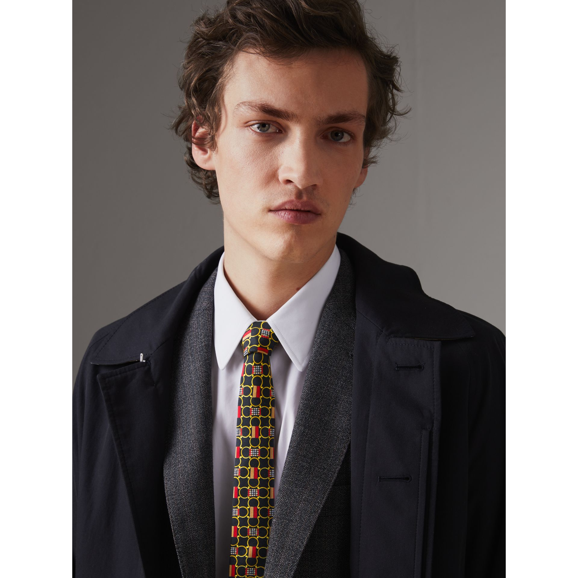 Slim Cut Archive Scarf Print Silk Tie in Black - Men | Burberry United Kingdom - gallery image 2
