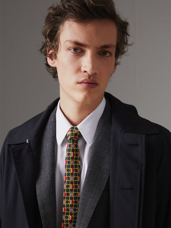 Slim Cut Archive Scarf Print Silk Tie in Black - Men | Burberry United Kingdom - cell image 2