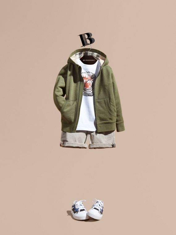 Hooded Cotton Top in Khaki Green Melange - Boy | Burberry
