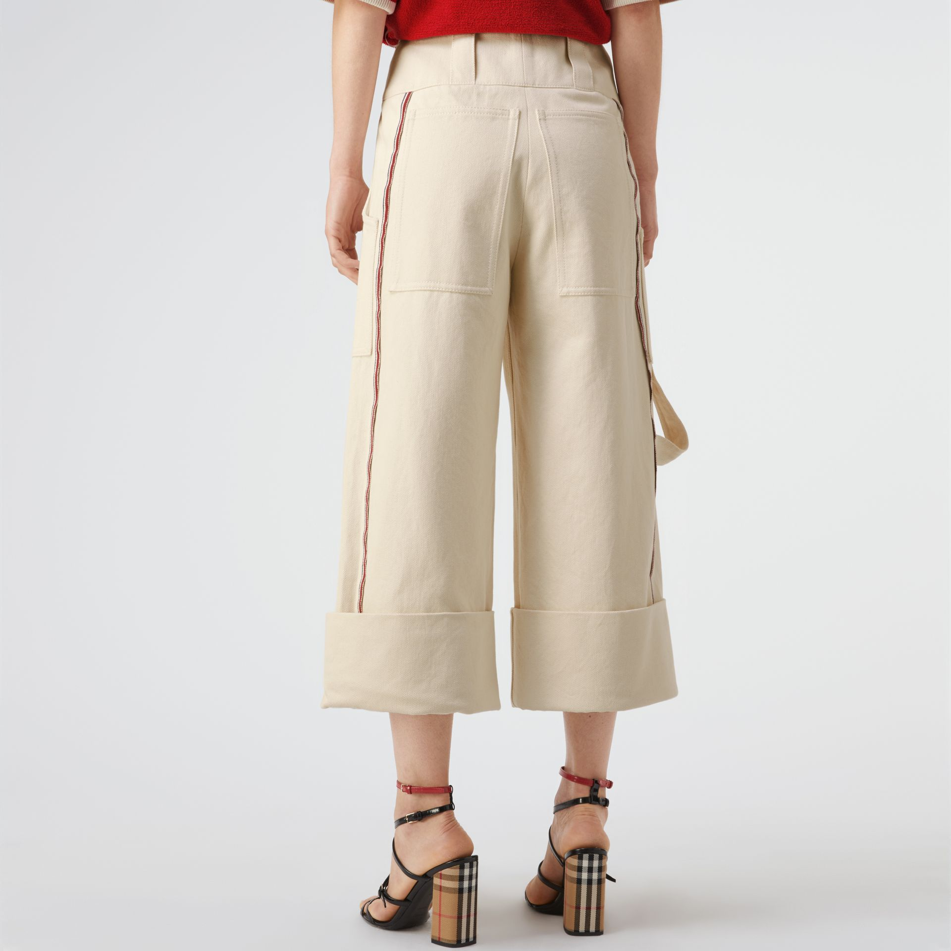 Stripe Detail Cotton Cropped Wide-leg Trousers in Natural White - Women | Burberry Canada - gallery image 2
