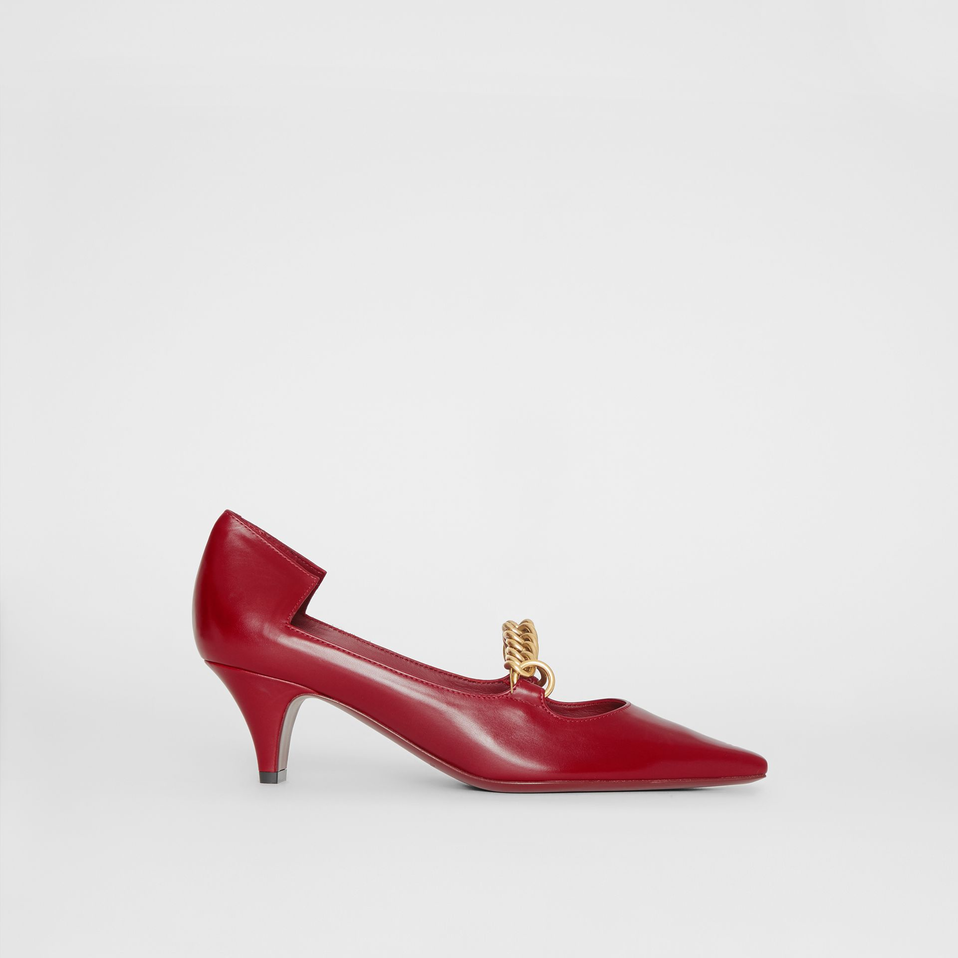 Link Detail Leather Point-toe Pump in Claret - Women | Burberry - gallery image 5