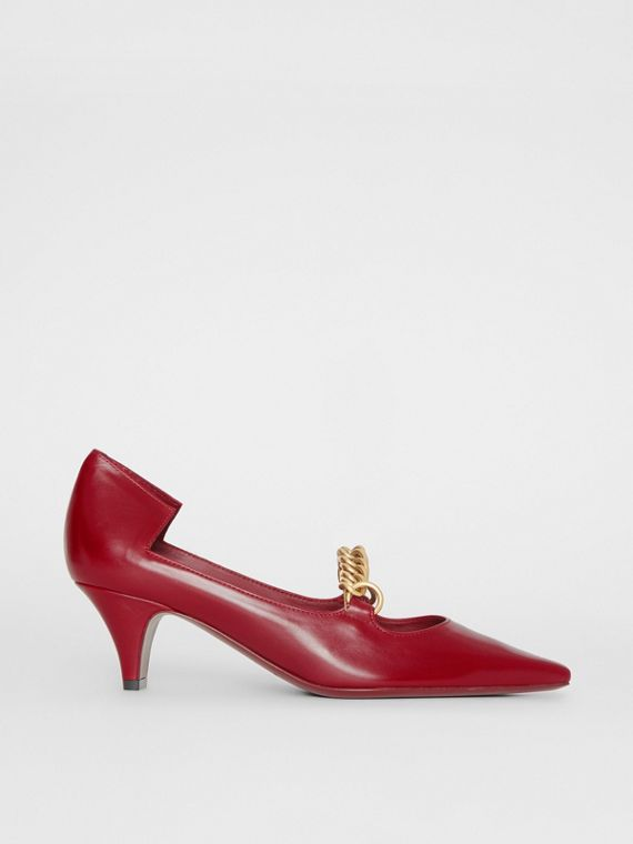 Link Detail Leather Point-toe Pump in Claret