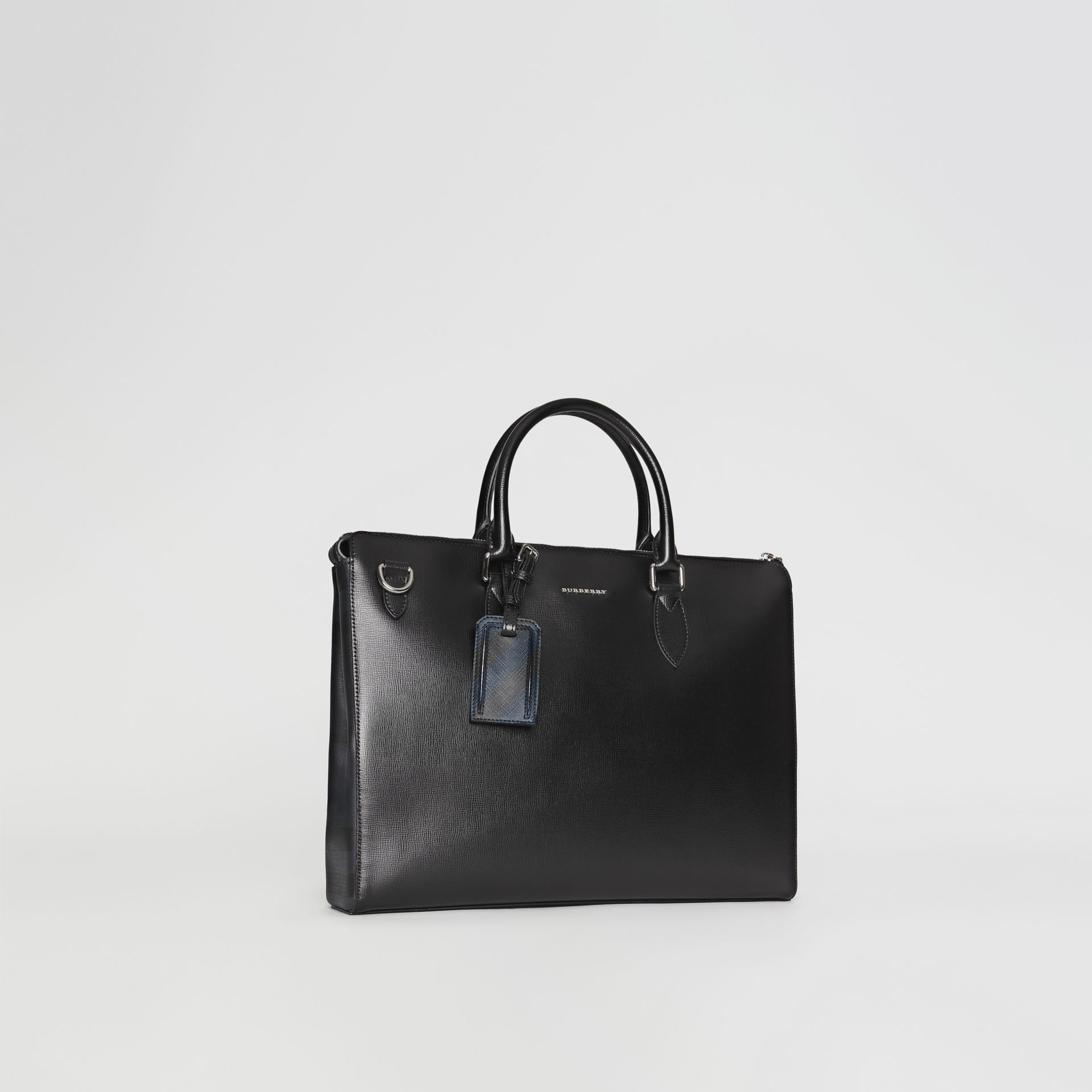 Large London Leather Briefcase in Black - Men | Burberry - gallery image 6