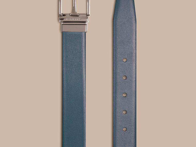 Mineral blue/black Reversible London Leather Belt Mineral Blue/black - cell image 1