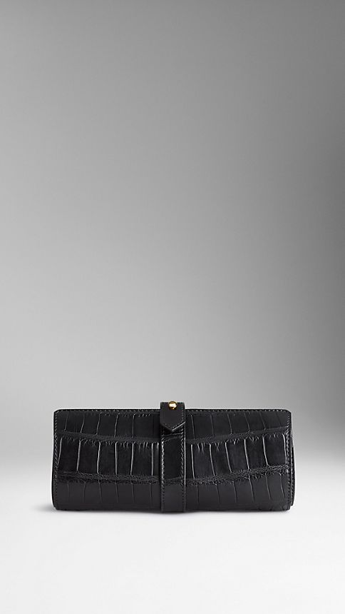 Black Alligator Leather Watch Travel Case - Image 2