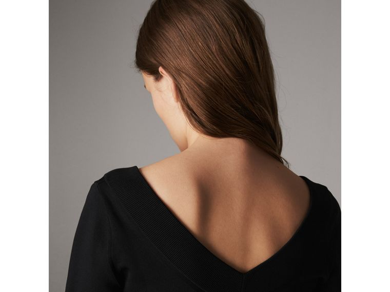 Asymmetric Knitted V-neck Dress in Black - Women | Burberry - cell image 1