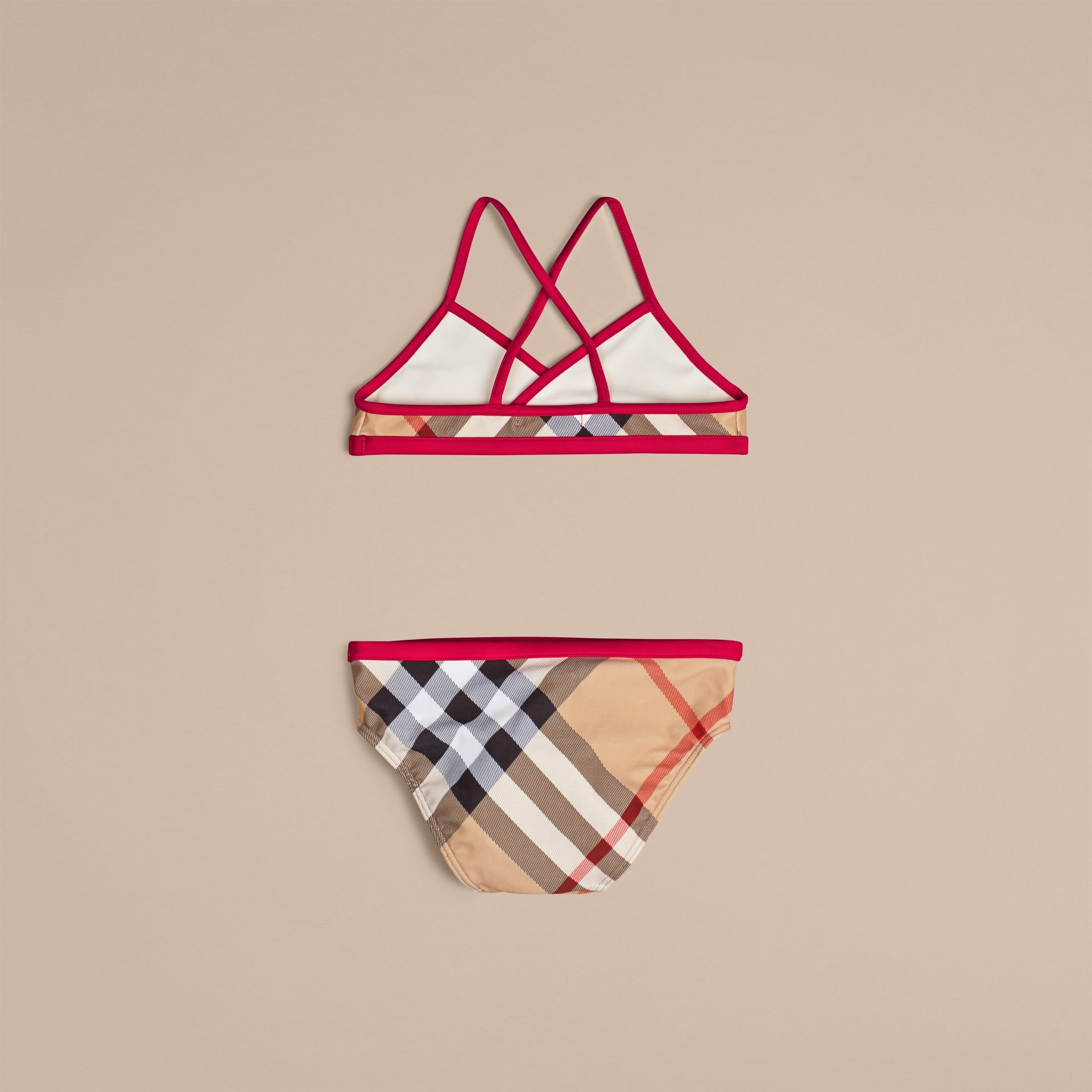 Check Bikini with Contrast Trim in New Classic - Girl | Burberry - gallery image 2
