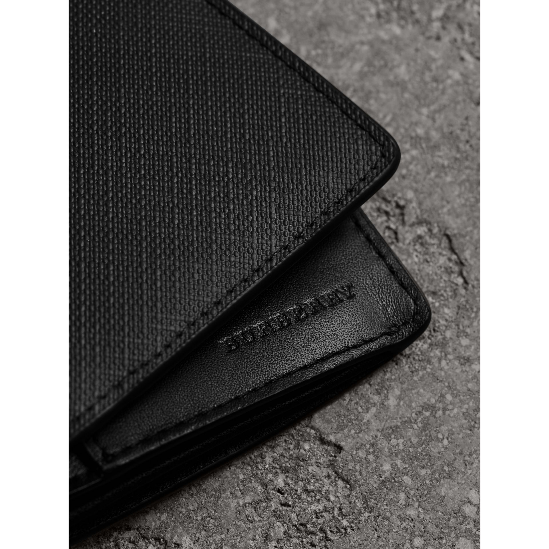 London Check and Leather Continental Wallet in Chocolate/black - Men | Burberry - gallery image 1
