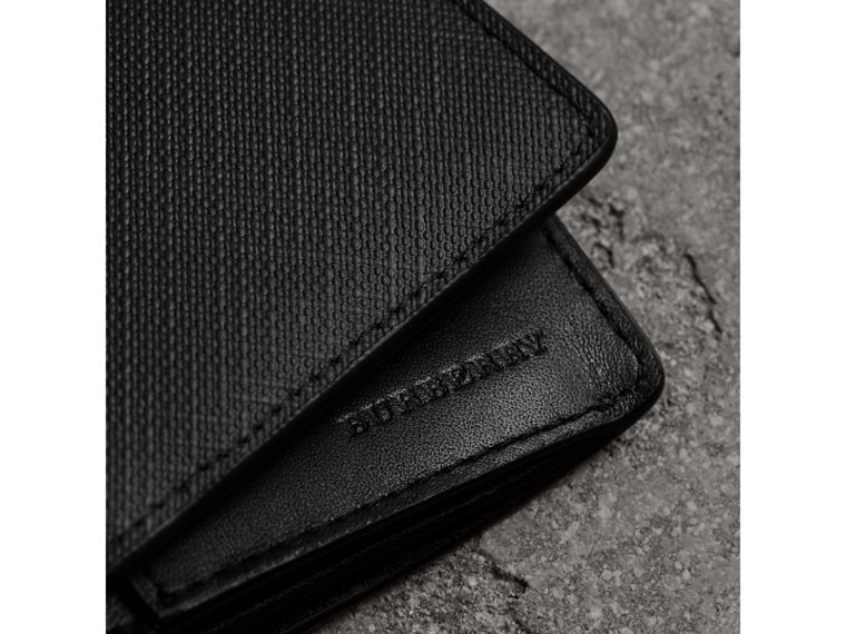 London Check and Leather Continental Wallet in Chocolate/black - Men | Burberry Canada - cell image 1
