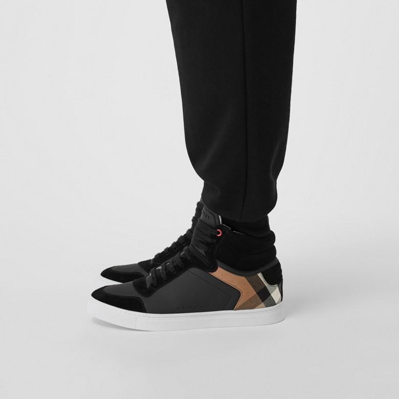 Burberry - Sneakers montantes en cuir et tissu House check - 3