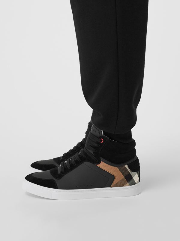 Leather and House Check High-top Sneakers in Black - Men | Burberry - cell image 2