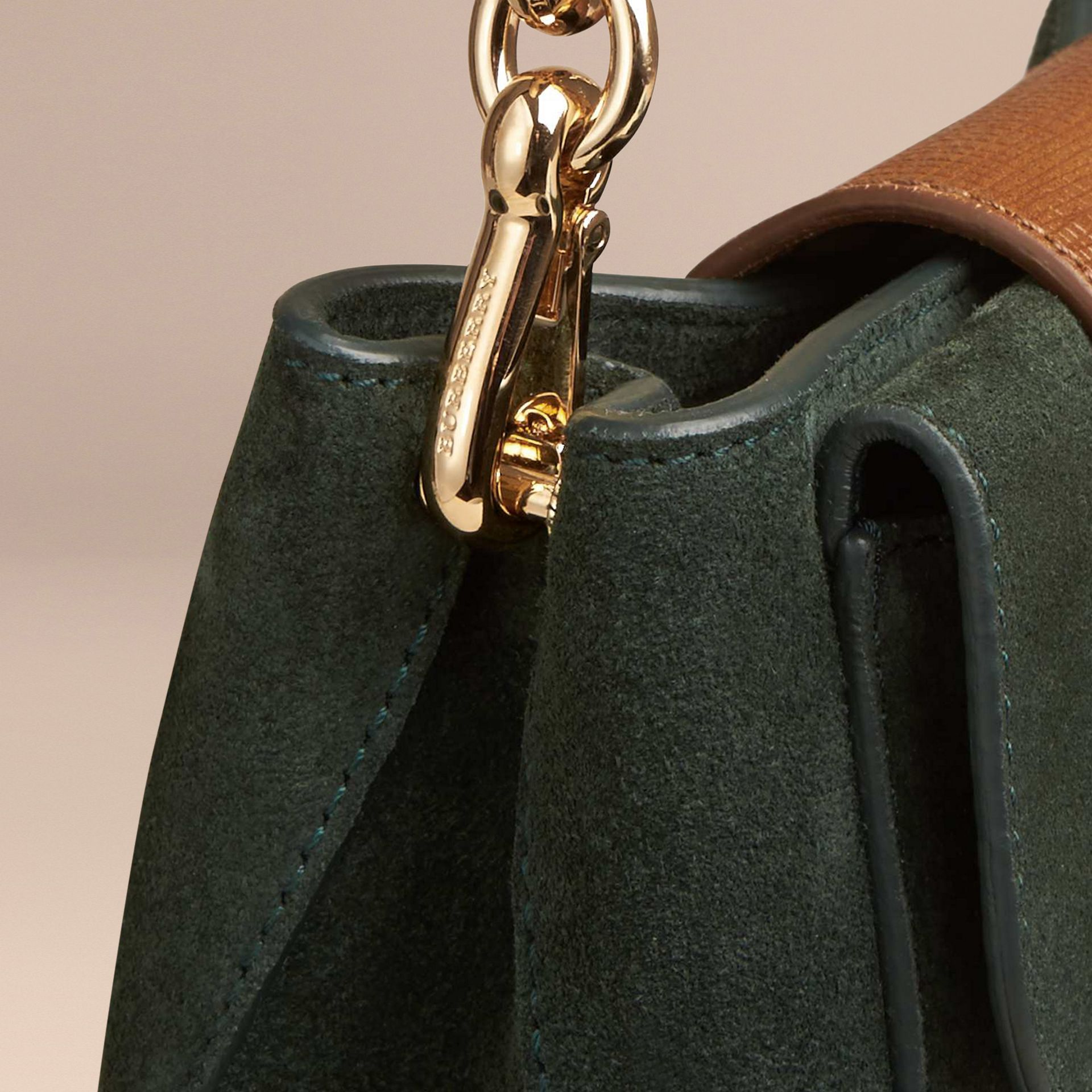 Dark forest green The Small Square Buckle Bag in Suede and Leather Dark Forest Green - gallery image 6