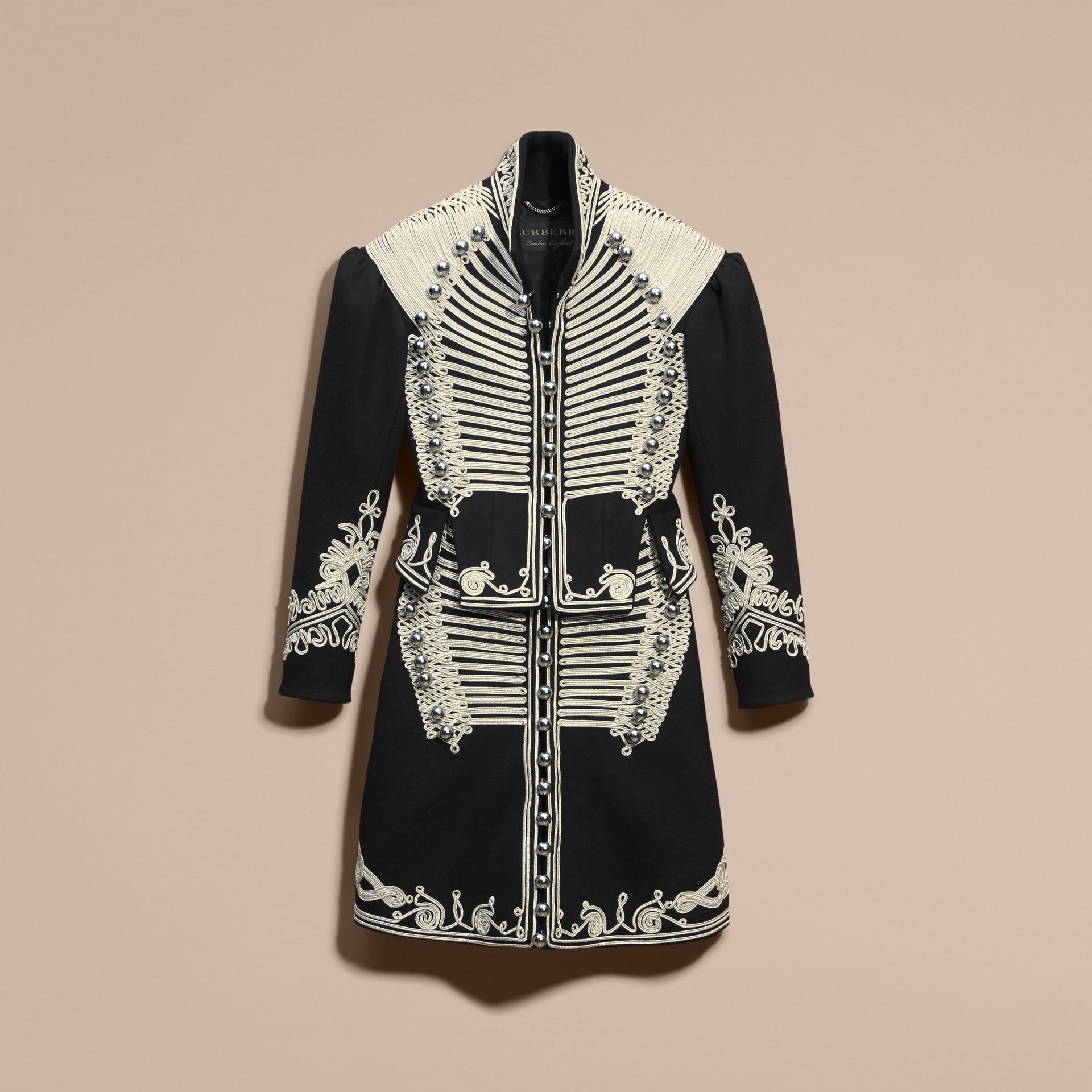 Black Braided Wool Military Coat - gallery image 4