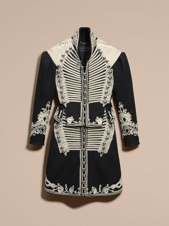 Black Braided Wool Military Coat - cell image 3
